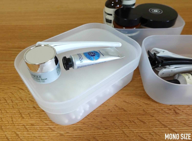 無印良品ポリプロピレンメイクボックス用フタ・Sの収納例写真